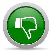 image of dislike  - dislike green glossy web icon  - JPG