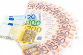 stock photo of fifties  - Fifty euro banknote fan isolated on white background - JPG