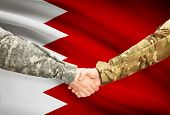picture of bahrain  - Soldiers shaking hands with flag on background  - JPG