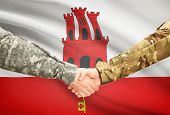 picture of gibraltar  - Soldiers shaking hands with flag on background  - JPG