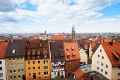 stock photo of bavaria  - Top view from beautiful Kaiserburg of red roofs in Nuremberg - JPG