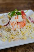 stock photo of squid  - close up Fried rice with shrimp and squid - JPG
