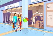 stock photo of shopping center  - Couple Shopping Man and Woman Walking with Bags in Modern Luxury Shop Mall Center Vector Illustration - JPG