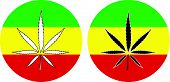 picture of rasta  - Rasta Flag with Marijuana black and white Leaf silhouette sign - JPG