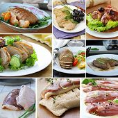picture of barbary duck  - collage menu  duck dishes and raw fillets - JPG