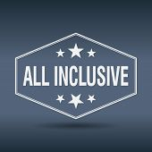 pic of all-inclusive  - all inclusive hexagonal white vintage retro style label - JPG