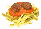 stock photo of meatball  - Meatballs and tagliatella pasta with tomato sauce isolated on a white background - JPG