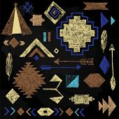 pic of wigwams  - Hand drawn tribal elements set on black background - JPG