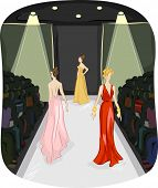 picture of evening gown  - Illustration of Three Girls Modeling Long Gowns walking on a Runway - JPG