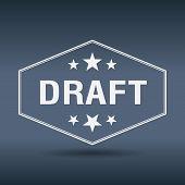 foto of draft  - draft hexagonal white vintage retro style label - JPG
