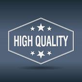 stock photo of high-quality  - high quality hexagonal white vintage retro style label - JPG