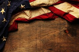 stock photo of nationalism  - Old American flag background for Memorial Day or 4th of July - JPG