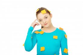 picture of post-teen  - Beautiful young woman covered with post it notes - JPG