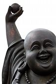 Close Up Of A Happy Buddha's Face On White Background