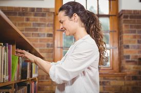 picture of librarian  - Librarian sorting books on the shelves at the elementary school - JPG