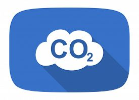 stock photo of carbon-dioxide  - carbon dioxide flat design modern icon with long shadow for web and mobile app - JPG