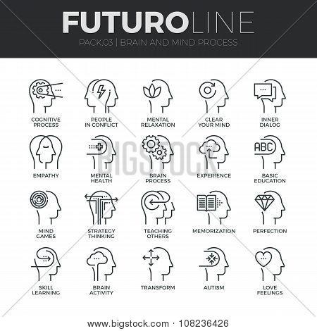 Human Mind Process Futuro Line Icons Set