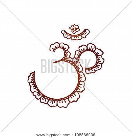 Om Aum Vedic Symbol Sacred Sound Mantra Yoga And Meditation Floral