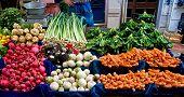 Fresh Organic Vegetables At A Street Market In Istanbul, Turkey.