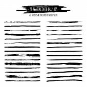 Set Of Black Watercolor, Ink Hand Drawn Brush Strokes, Borders, Dividers Isolated. poster