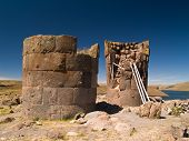stock photo of urn funeral  - Sillustani ancient Funeral Towers in the Andes, Peru
