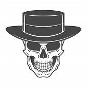 Wild west skull with hat. Smiling rover logo template. Wanted die or alive portrait. High way man t- poster
