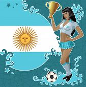 Vector Football Poster With Girl And Argentinean Flag