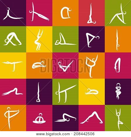 Icons Of Yoga Asanas Poses Isolated On Color Background Vector Illustration