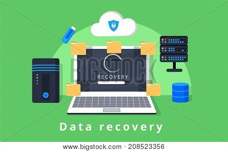 poster of Data recovery data backup restoration and security flat design vector with icons. Vector illustration. Data protection concept web banner. Flat style. Internet security. For cloud services encryption app ad