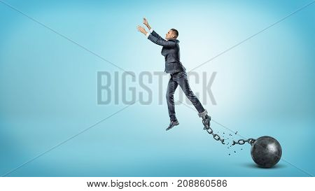 A businessman leaps