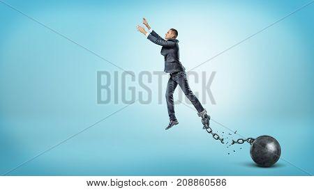 A businessman leaps