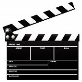 foto of crew cut  - Opened movie clapboard used by movie directors over white background - JPG