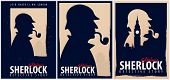 Set Of Sherlock Holmes Posters. Detective Illustration. Illustration With Sherlock Holmes. Baker Str poster