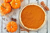 Autumn Pumpkin Pie, Overhead Table Scene On A Rustic White Wood Background poster