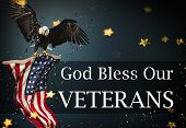 Background with united States Flag. Veterans Day Concept. poster