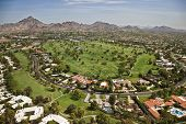image of piestewa  - Aerial view of a lush golf course in Phoenix Arizona - JPG