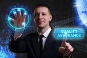 Business, Technology, Internet And Network Concept. Young Businessman Working On A Virtual Screen Of poster