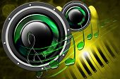 stock photo of musical symbol  - Background music with two woofers - JPG