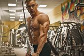 Confident Handsome Athletic Bodybuilder Workout Triceps Pushdown Rope Attachment Shirtless Power Spo poster