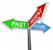 Three colorful arrow signs reading Past, Present and Future, depicting the choices and decisions inv