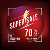 Super Sale 70 Discount Square Poster Format And Flyer. Template For Design Advertising And Banner On poster