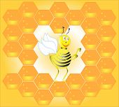 Bee in honeycombs.