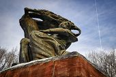 stock photo of chopin  - Frederic Chopin monument in Lazienki park during winter time - JPG