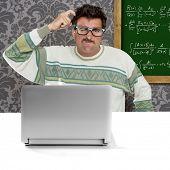 genius nerd silly glasses computer thinking gesture problem solution wallpaper background