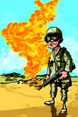 Cartoon american soldier near a oil well on fire