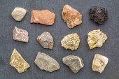 sedimentary rock geology collection, from top left: siltstone, sandstone rock salt, coal, limestone, poster