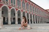 Lifestyle Tourist Girl Visiting Landmark Of Republic Square Sightseeing In Split, Croatia. European  poster