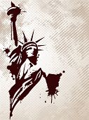 Image of the Statue of Liberty on grungy background for American day and other events. Vector illust