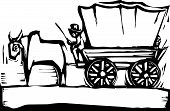 stock photo of ox wagon  - American West style covered wagon and ox - JPG