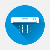 Air Conditioner Vector Icon. Symbol Of Air Conditioner, Air Cooling With A Flat Shadow. Layers Group poster